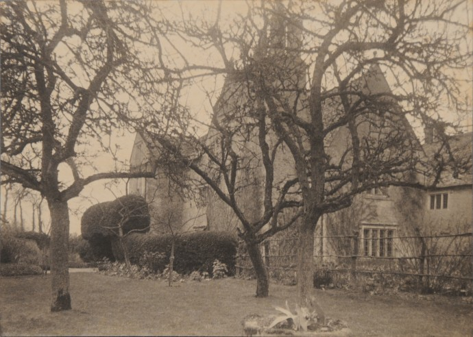 Platinum print of Kelmscott Manor viewed from the orchard