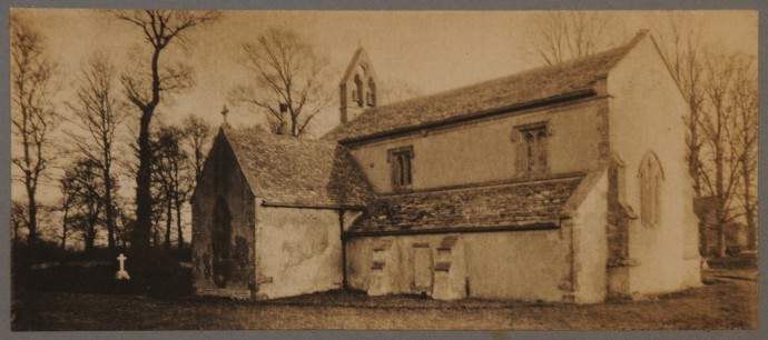 Platinum print of a stone church