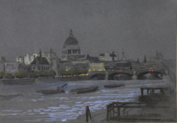 W100 Sketch at Twilight from Temporary Bridge at Waterloo