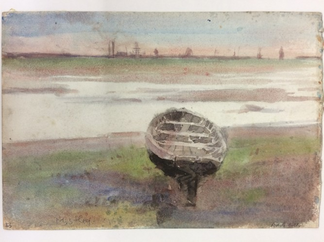 Boat beached with water and marshy land beyond