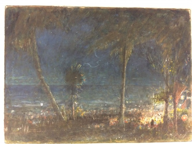 Nighttime scene on the beach with palm trees, figures around fire